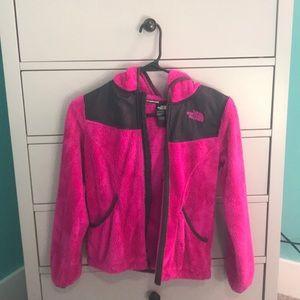 Girls hot pink north face jacket